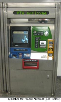 MetroCard Preis Tarif Automat New-York Manhattan ÖPNV